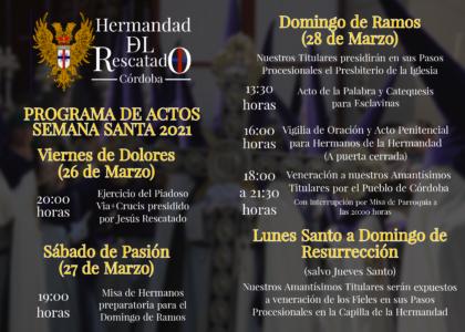 Comunicado Actos Semana Santa 2021
